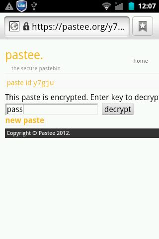 Pastee Droid- screenshot