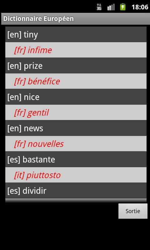 Euro Interlink Dictionary - screenshot