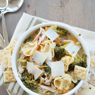 Kale and Broccoli Chicken Tortellini Soup.