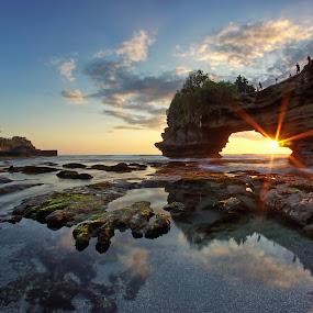 Sun Star in Batu Bolong Temple by Arya Satriawan - Landscapes Sunsets & Sunrises ( bali, national geographic, sunset, beach, landscape, path, nature )
