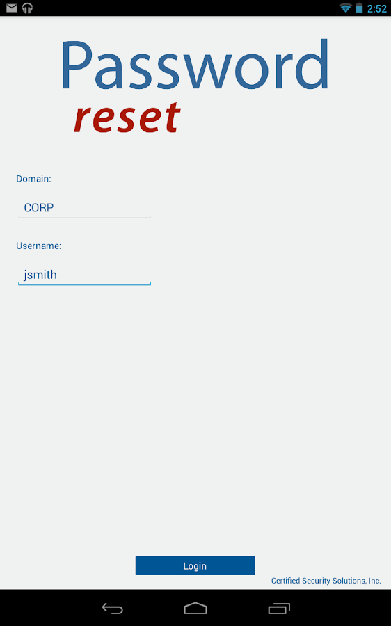 Password Reset - screenshot