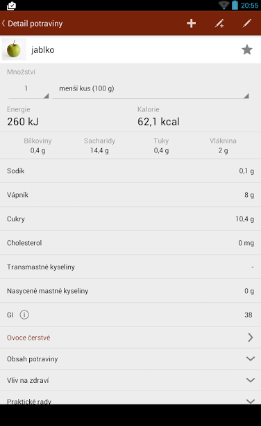 Kalorické tabulky - screenshot