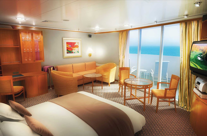 Relax in style with private balconies and comfortable beds and sofas in the Penthouse aboard Norwegian Sky.