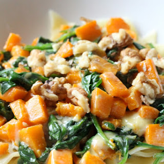 Butternut squash and spinach pasta with Roquefort cheese and walnuts.