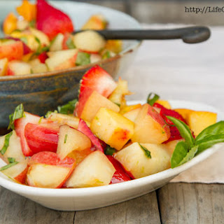 Peach, Nectarine, and Strawberry Fruit Salad with Lime Honey Basil Syrup Recipe