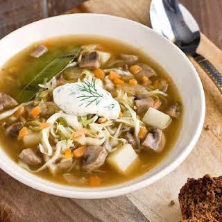 Sauerkraut Mushroom Soup (Shchi).