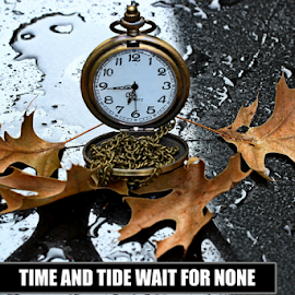 by Dipali S - Typography Captioned Photos ( single object, clockwise, clock face, jewelry, equipment, leaf, time, oak, tide, instrument of time, water, clockworks, isolated, greeting, clock, watch, elegance, wallpaper, caption, photo, close-up, luxury, ecard, background, typography, man made object, accuracy, tachymeter,  )