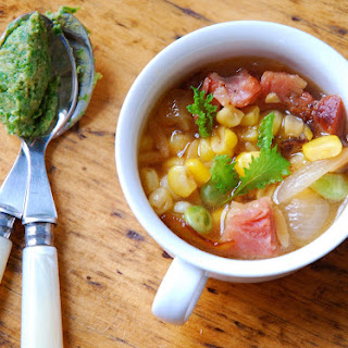 Succotash Minestrone with Mustard Green and Miso Pesto.