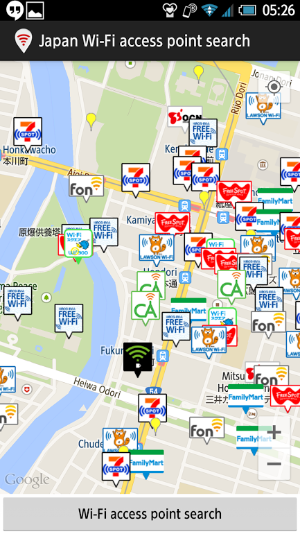 Japan WiFi access point search- screenshot
