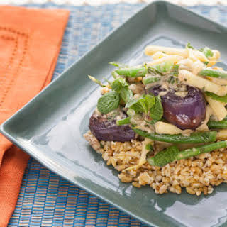 Tahini-Glazed Baby Eggplants with Green and Yellow Wax Bean & Lemon-Freekeh.