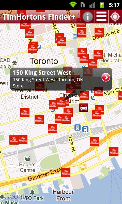 Tim Hortons Finder+ - screenshot