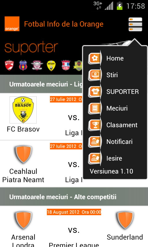 Fotbal Info de la Orange - screenshot