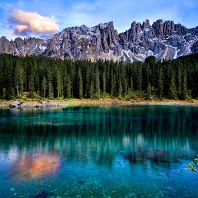 Reflections II by Michael Otter - Landscapes Waterscapes ( reflections, lago carezza, dolomites, latemar )