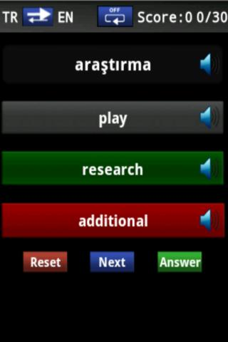 Vocabulary Trainer(TR/EN) Beg.- screenshot