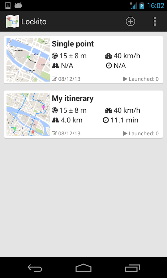Lockito – Fake GPS itinerary – Screenshot