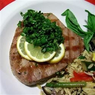 Swordfish Steaks with Arugula and Basil Sauce