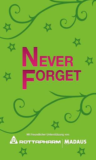 Never Forget Pillen Erinnerung
