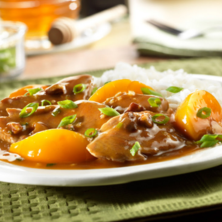 Pork Tenderloin with Peach and Pecan Sauce
