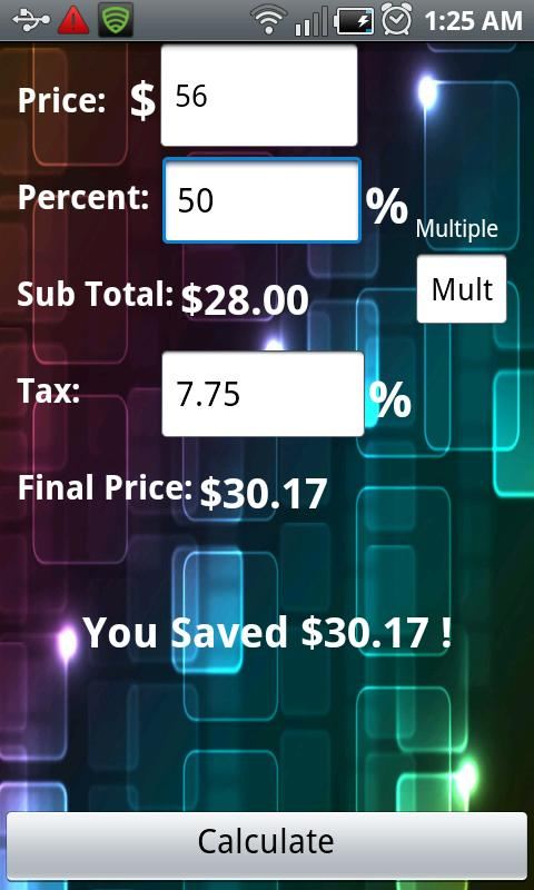 The Discount Calculator Lite - screenshot