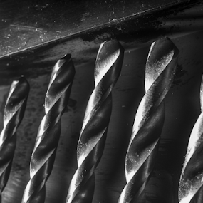 Drill bits by Alex Barrow - Black & White Macro ( black & white, macro,  )
