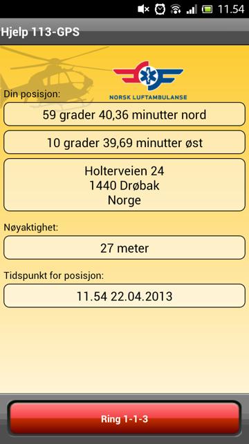 Hjelp 113-GPS - screenshot