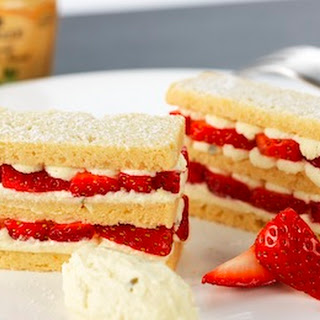Shortbread Millefeuille Of Strawberries, Basil, And Fennel Mustard Chantilly
