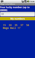 Screenshot of Mega Millions Lucky Numbers