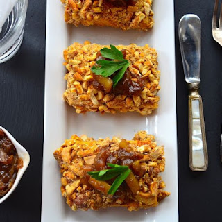 Cashew and Pretzel Crusted Tofu with sweet onion relish- Vegan Thanksgiving.