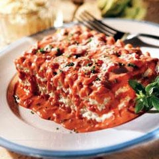 Meat Lasagna with Creamy Pink Sauce.
