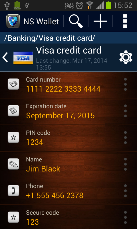 NS Wallet Password Manager App- screenshot