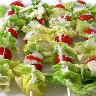 Super Low Calorie Caesar Salad on a Stick.
