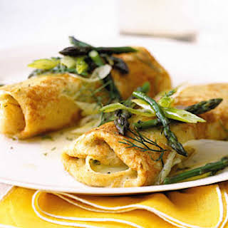 Cheese Matzo Blintzes with Asparagus and Dill.
