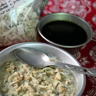 Instant Meal-On-The-Go   Creamy Alfredo Noodles with Chicken, Mushrooms, & Pine Nuts.