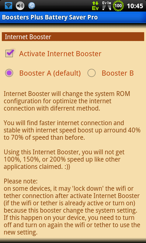 BOOSTERS PLUS BATTERYSAVER PRO - screenshot