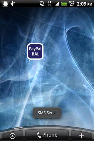 PayPal SMS Widget - screenshot