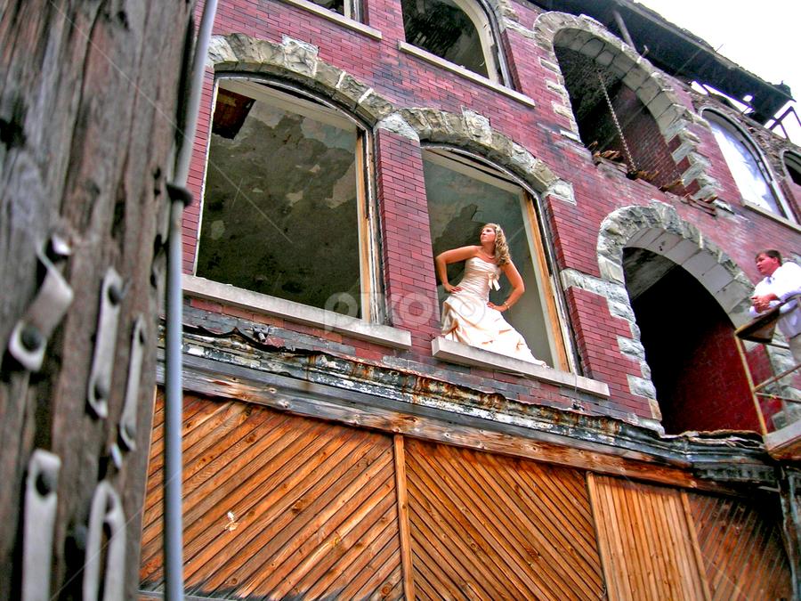 A Beginning at an End by Jane Spencer - Wedding Bride & Groom ( antiquated building, demolition, beginning, bride, groom, end,  )