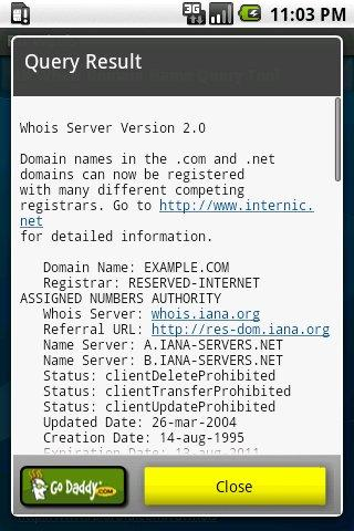 RD Whois- screenshot