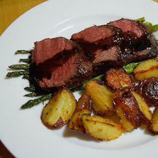 Roasted Venison Loin with a Balsamic Reduction Pan Sauce.