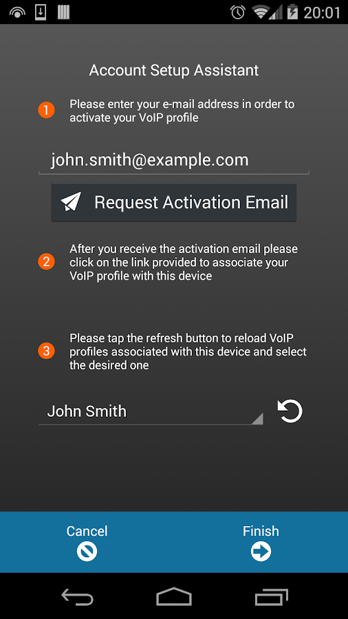 VoiceMailTel Mobile SIP Client- screenshot