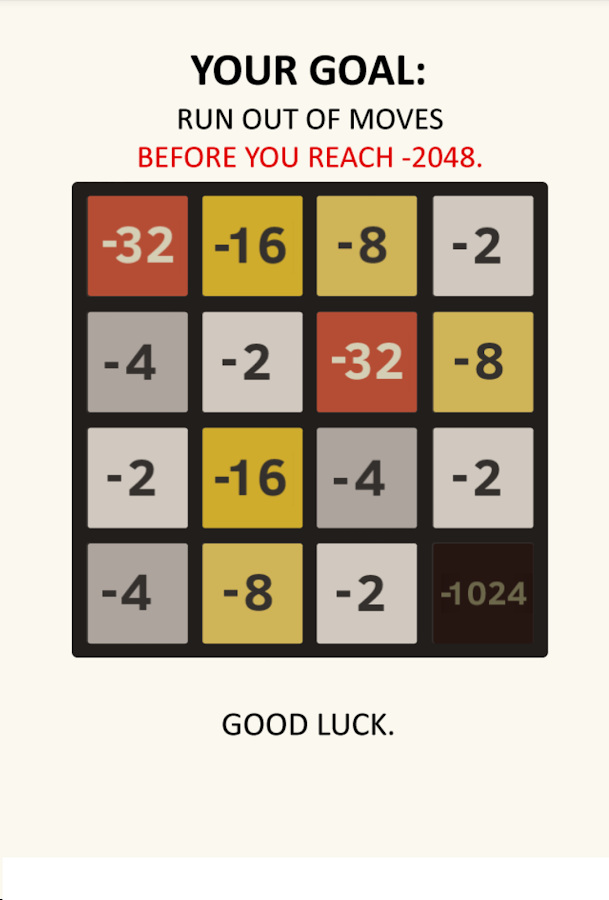 Negative 2048- screenshot