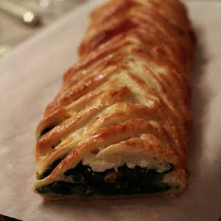 Feta, Chard, and Pine Nut Pastry Braid Appetizer.