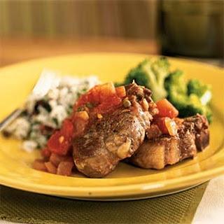 Lamb Chops in Fennel-Tomato-Caper Sauce