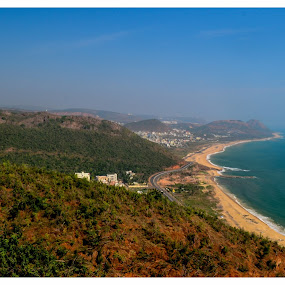 Beach View from hill top !! by Prathap Gangireddy - Landscapes Beaches ( hills, hill, beaches, landscape photography, beach, landscape, relax, tranquil, relaxing, tranquility )