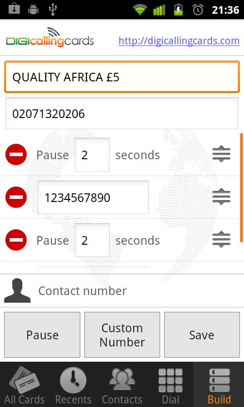 Digi Calling Cards Dialer - screenshot