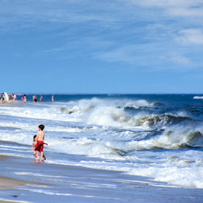 Child's Play by Judy Hall-Folde - Landscapes Beaches ( child, playing, water, sand, atlantic ocean, waves, children, sea, ocean, seascape, beach, surf )