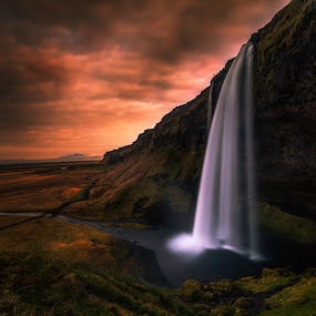 Just another Fall by Daniel Herr - Landscapes Sunsets & Sunrises ( glacier, iceland, seljalandsfoss, sunset, waterfall, long time expsoure, view, landscape )