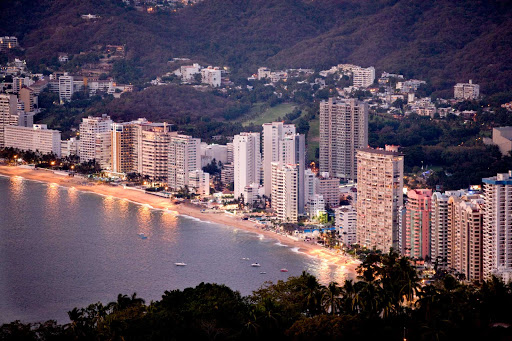 Acapulco-beaches - Hotels, resorts and office towers line the beach of Acapulco.