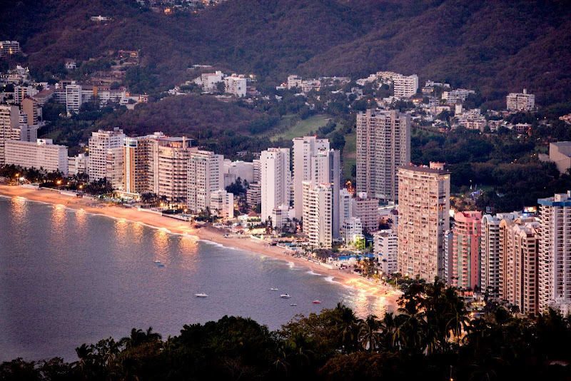 Hotels, resorts and office towers line the beach of Acapulco.
