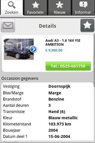 Seldenrijk OccasionApp- screenshot