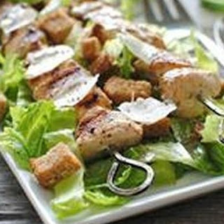 Grilled Chicken Caesar Kebab Salads.